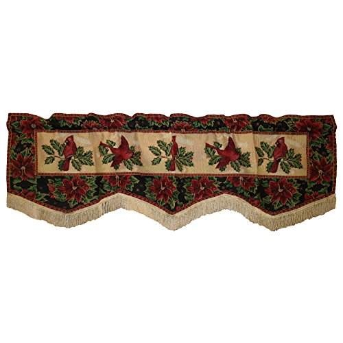 Violet Linen Decorative Christmas Tapestry Window Valance, 60