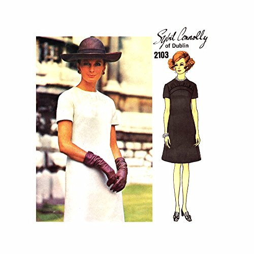 (1960s Sybil Connolly A-line Jewel Neck Dress Vogue Couturier Design 2103 Vintage Sewing Pattern Check Listing for Size)