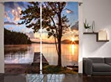 picture sun shade - Ambesonne Wooden Bridge Decor Collection, Shore of Seventh Lake Tree Sunbeam Sunset Reflection View Picture, Window Treatments, Living Room Bedroom Curtain 2 Panels Set, 108 X 84 Inches, Green Blue