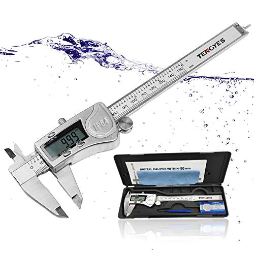 - TENGYES Electronic Digital Caliper Micrometer - Stainless Steel Vernier Calipers 6 inch/150 mm, IP54 Waterproof Accurate Measuring Tool with Large LCD Screen Inch Fractions Millimeter Conversion