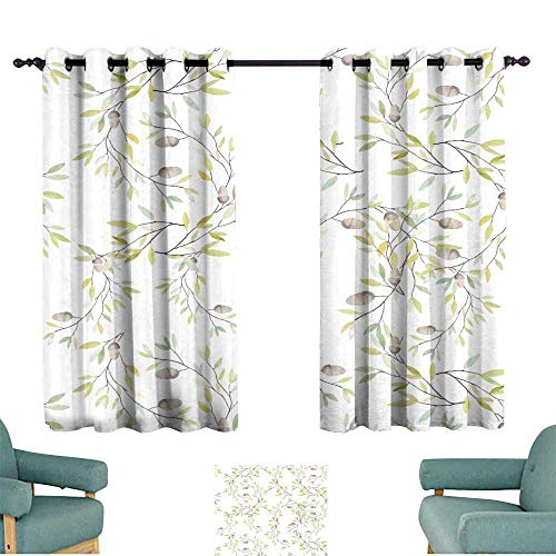 - Warm Family Exquisite Curtain Watercolor Pattern with Leaves and Oak Acorn on White Background for Living, Dining, Bedroom (Pair)