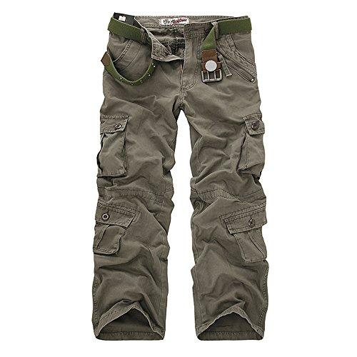 Poches Mode Dihope Vintage Multi Casual Pour Homme Gym Sport Pants Travail Cargo Décontracté Armé Sans Vert Pantalon De Été Ceinture Militaire qpqSfwB