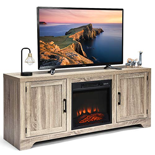 Tangkula 65″ TV Stand, Storage Cabinet Console, Television Console, Media Component TV Stand with Adjustable Shelves. Suitable for 18″ x 17″ Fireplace (not Included) (Grey)