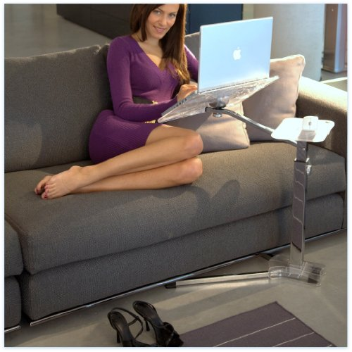 Lounge-book Crystal Chrome - Laptop Desk supports 17-18 inchs Laptops, Tablet PC, Ipad,E-book,Coolfit Cooling System, Mouse-pad by Lounge-Tek srl 100% Made in Italy