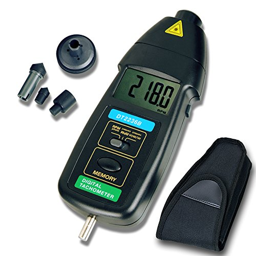 Tachometer, RISEPRO 2in1 Contact and Non contact Digital Laser Tachometer RPM Meter Speed Tester DT-2236B by RISEPRO