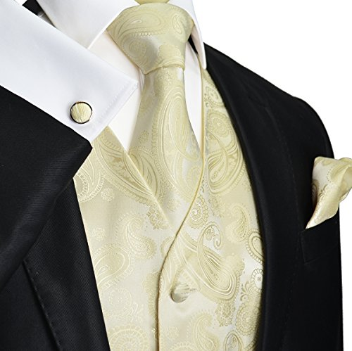 Paul Malone Wedding Vest Set Cream 5pcs Tuxedo Vest + Necktie + Ascot + Hanky + 2 Cufflinks L by Paul Malone