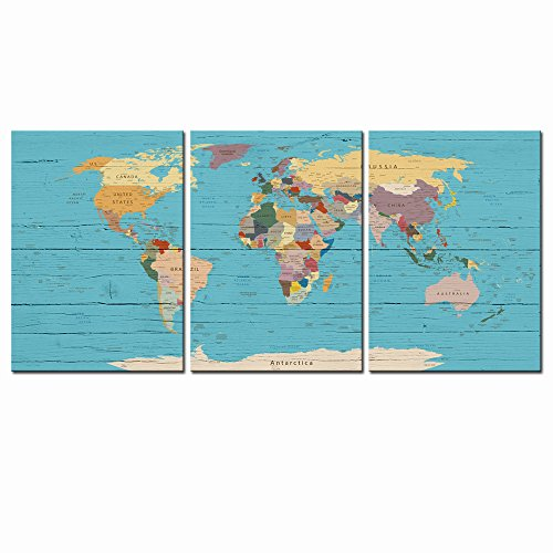 - Live Art Decor - 3 Piece Canvas Wall Art World Map Framed Picture Wood Style Modern Home Decor Artwork on Canvas Stretched Gallery Wrap Ready to Hang