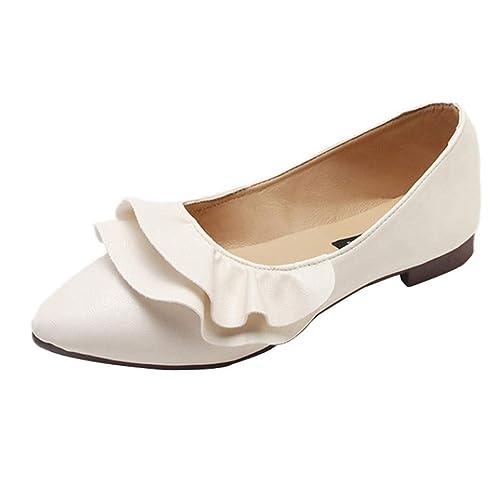 Zapatos de Vestir de Cuero Plano Chic para Mujer Otoño 2018 Moda PAOLIAN  Zapatos de Señora Casual Calzado Dama Cómodos con Volantes Tallas Grandes  ... 390d63ee4687