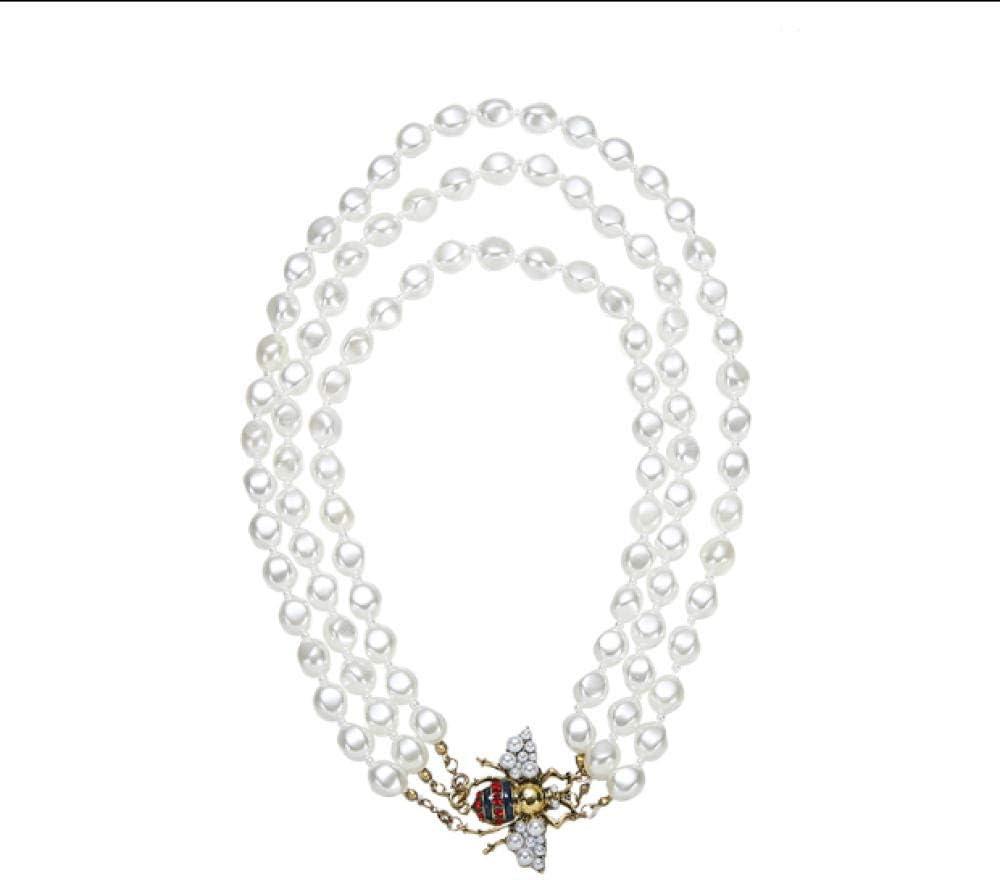 BAIMM Wild S925 Plata de Ley Retro Temperamento luz Forma de Collar de Perlas de Abeja Moda Femenina Salvaje de Tres Capas p