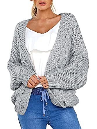 Niitawm Womens Chunky Cable Cardigans Long Sleeve Knit Oversized Cardigan Sweaters Outwear (S,Grey)