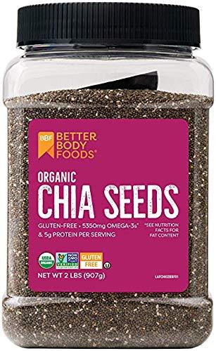 BetterBody Foods Semillas de chía orgánicas con Omega-3, sin ...