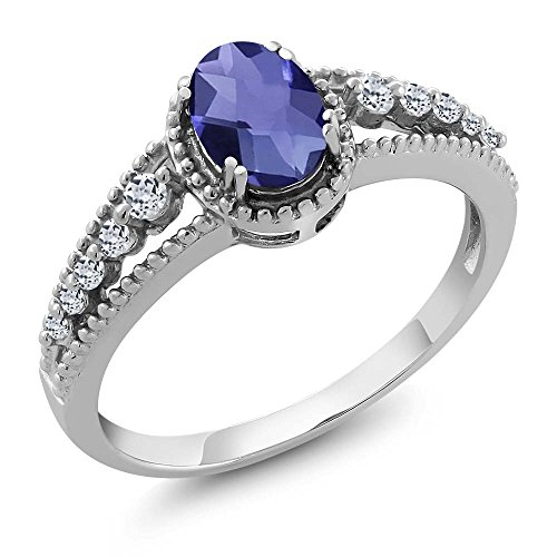 Gem Stone King 0.86 Ct Oval Checkerboard Blue Iolite White Topaz 925 Sterling Silver Ring (Size 6) ()