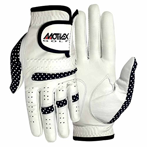 MRX BOXING & FITNESS Womens Golf Glove Soft Cabretta Leather Regular Fit Women Golfer Gloves Left Hand (White/Black-Small)