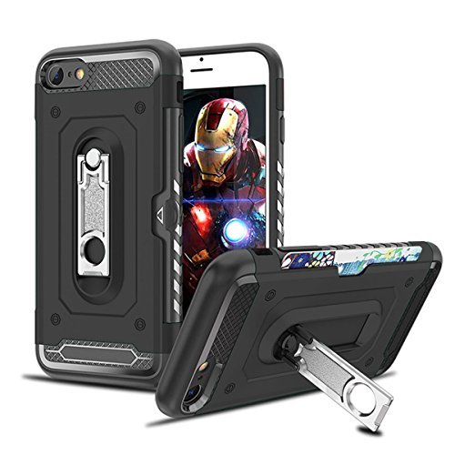 iPhone 8 Case,iPhone 7 Case,Heima Tough Armor Heavy Duty Protection TPU Impact Bumper Hybrid Case Cover with Card Slot Holder&360 Degree Swivel Kickstand for iPhone 7/iPhone 8 (HM Series-Black) from Heima