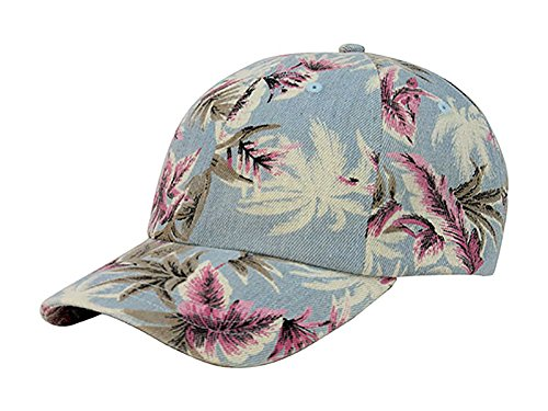 TOP HEADWEAR Denim Floral Print Cap - Light Blue