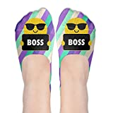 Boss Emoji Sunglasses Polyester Cotton Deodorant Ankle Socks Non Slip Socks For Women Girl