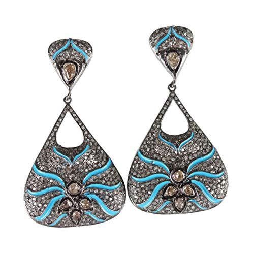 a5c3702d0 Amazon.com: Designer Rose Cut Diamond Earrings - Pave Rose Cut Diamond 925  Sterling Silver Danglers Earrings - 14K Gold Plated Diamond Earrings:  Handmade