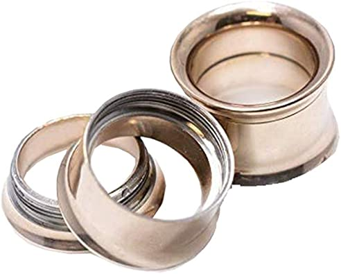 1 Pair 4g Steel Double Flared Tunnels Ear Plugs Eyelet