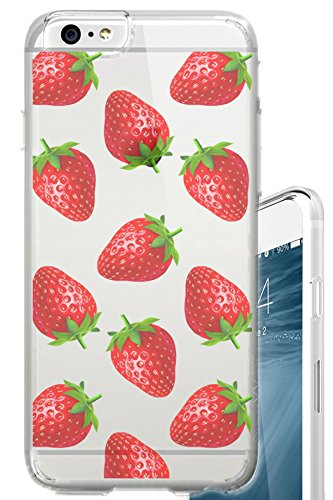 iPhone 6S PLUS Case 5.5 inch Strawberries Overload Fruit Foodie Food Clear Translucent Transparent Unique Design Pattern Cover For iPhone 6S PLUS also fits iPhone 6 - Strawberry Foods