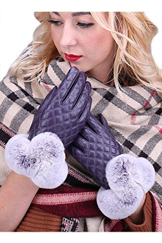 YACUN 女性のフェイクファーのパッチワークpuのタッチスクリーン手袋の冬は暖かい