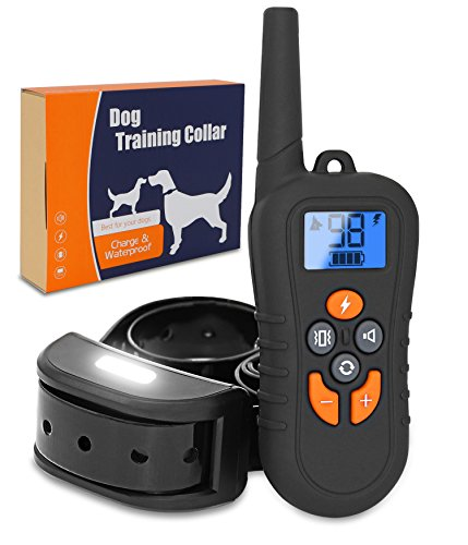 Brefac Dog Training Collar – Sport Shock Collar with Remote for Large Small Medium Dogs E Collars w Night Light Electric Shock Beep Vibration 2018 Upgraded