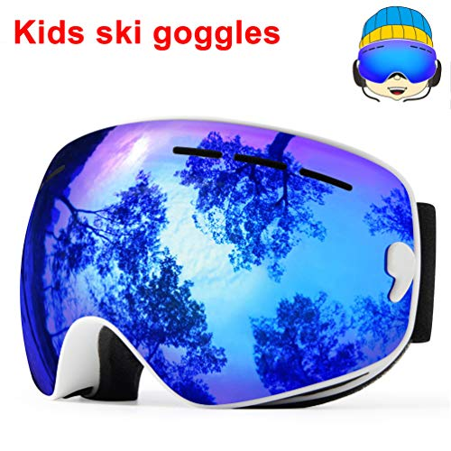 TUONROAD Kids Cool Ski Goggles, Winter Skiing Eyewear Spherical OTG Anti Fog Snowboarding Goggles Reflective Mirror Lens UV Protection Snow Glasses for Junior Childrens Teen Toddler Boy Girl, Blue for $<!--$27.99-->
