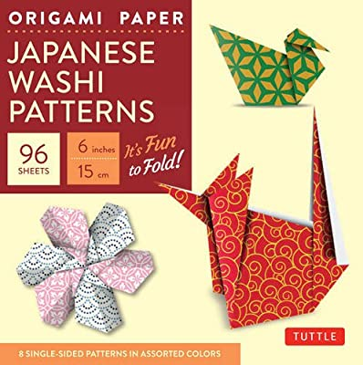 """Origami Paper - Japanese Washi Patterns - 6"""" - 96 Sheets: (Tuttle Origami Paper)"""