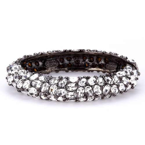 Kenneth Jay Lane Gunmetal Crystal Pave Thin Bangle