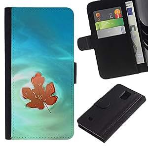 Paccase / Billetera de Cuero Caso del tirón Titular de la tarjeta Carcasa Funda para - Nature Beautiful Forrest Green 46 - Samsung Galaxy Note 4 SM-N910
