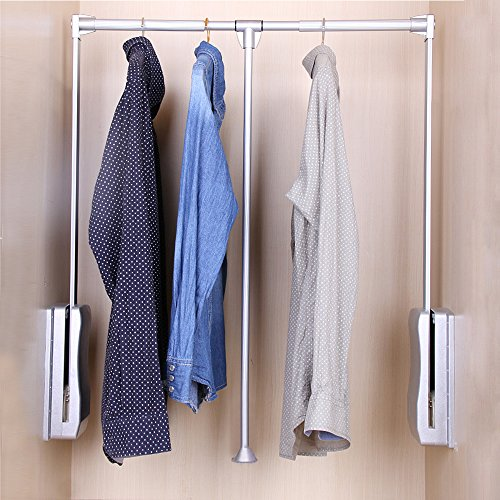 Wardrobe Rods - Gimify Aluminum Closet Storage Organizer Clothes Hanger Adjustable Pull-Down Closet Rod Wardrobe Lift Organizer (23.62inch-32.68inch)