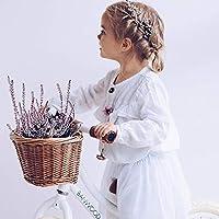 HB.YE Fait à Main Petit Panier de Vélo Fille Garçon Enfant Osier Vintage avec Sangle de Cuir Bicyclette 22x18x14cm