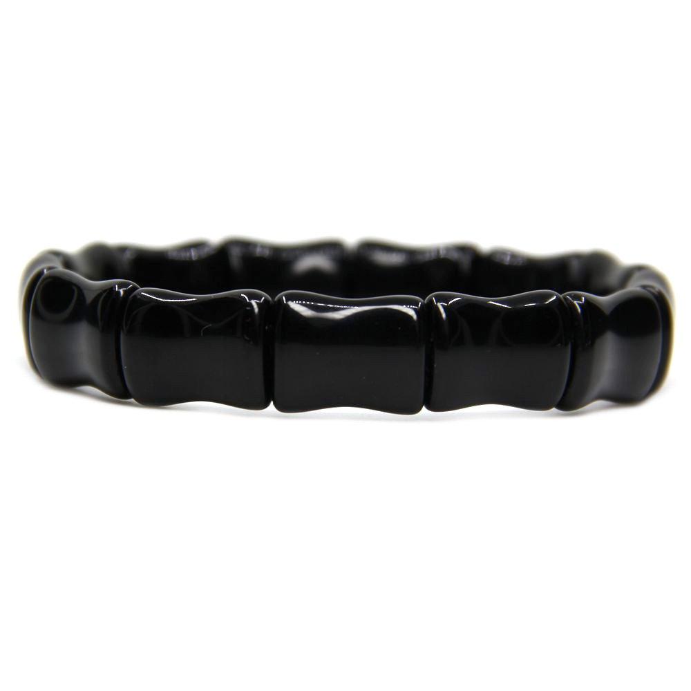 Genuine Semi Precious Gemstone Bamboo Festival Beaded Stretchable Charm Bracelet 7 Unisex Amandastone Gemb0223.1