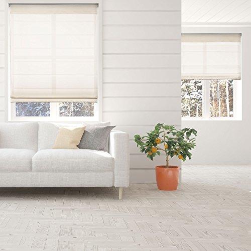 Calyx Interiors Light Filtering Ivory Cordless Lift Fabric Roman Shade, 46.5