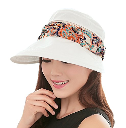 Kuyou Sommer Strand Hat Damen Outdoor Sport Hut Anti-UV Sonnenhut (Weiß)