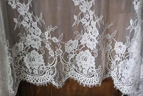 Chantilly Eyelash Edge Lace Fabric Floral Bridal//Wedding Dress Flower African Lace Table Cloth DIY Crafts Trim Applique Ribbon Curtains ALE16 Light Gold