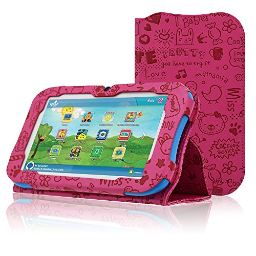 ACdream Sprout Channel Cubby 7 Case, Premium PU Standing Leather Cover Case for Sprout Channel Cubby 7 inch HD 16GB KidFriendly Tablet, Hot Pink Pattern