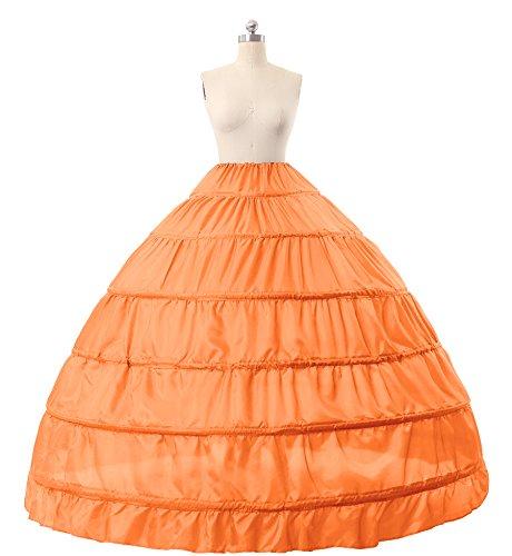 MISSYDRESS Full A-line 6 Hoops Floor-length Bridal Dress Gown Slip Petticoat Orange
