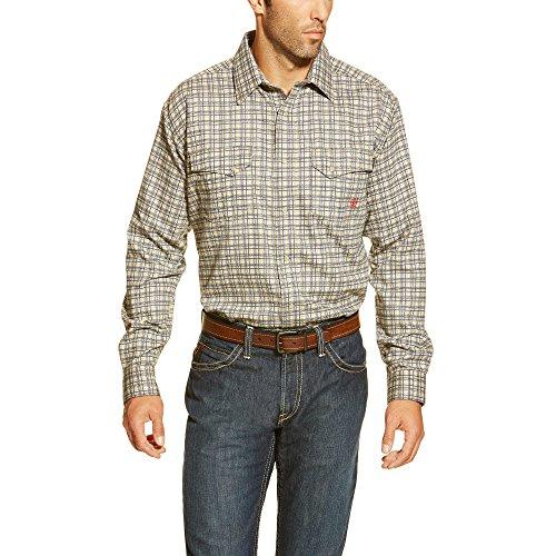 Ariat Men's Flame Resistant Work Snap Shirt, Khaki, Large/Regular