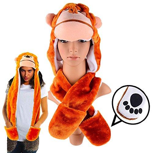 Plush Monkey Hat with Long Paws Multi-functional Novelty - Adult Monkey Hat