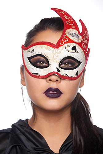 Gypsy Queen Masquerade Mask (Unisex; One Size Fits Most; Red/Ivory) (Voodoo Queen Costume)