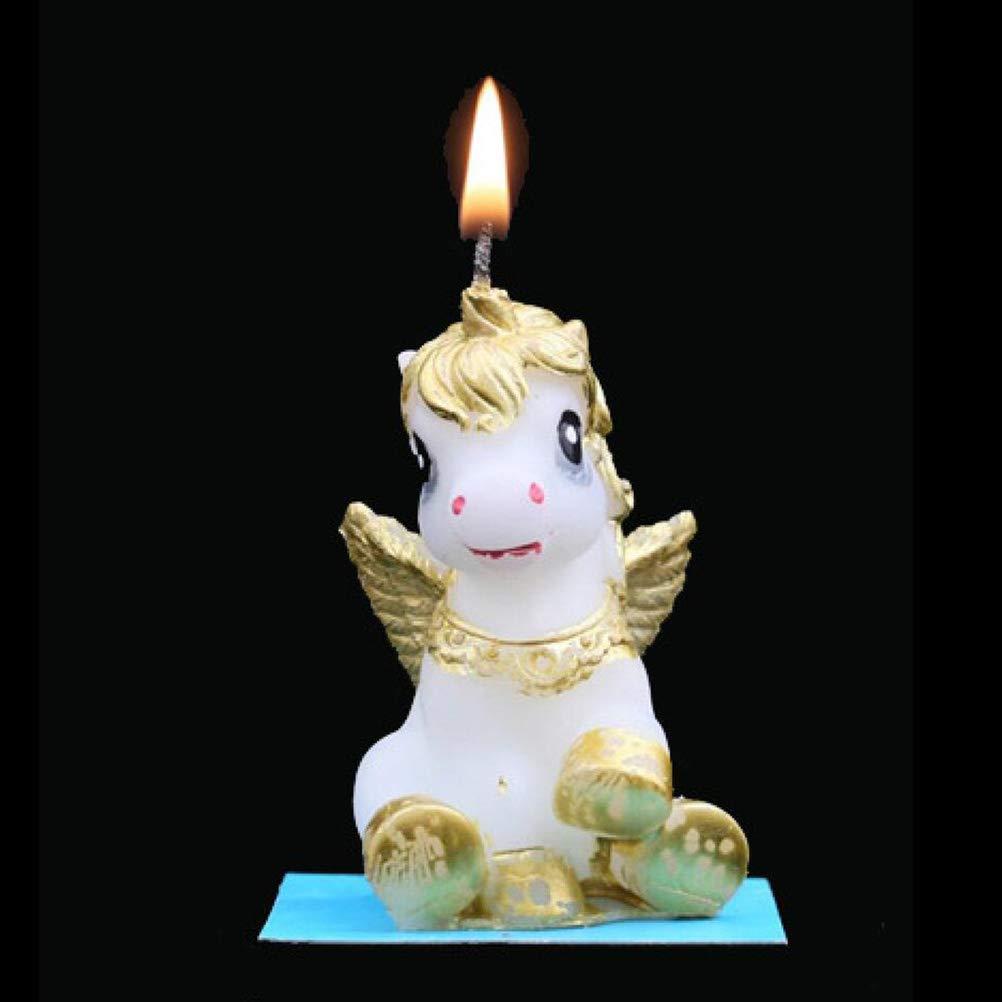 BESTOYARD 2 Unids Unicornio Pastel de Cumpleaños Vela Sin ...