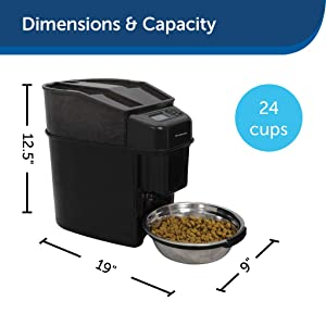 PetSafe Healthy Pet Simply Feed Automatic Cat and Dog Feeder with Stainless Steel Bowl