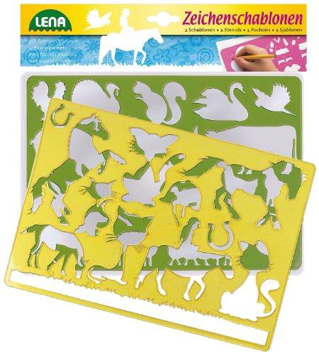 Lena 65767 - 2 Zeichenschablone Pferde und Katzen, ca. 26 x 19 cm