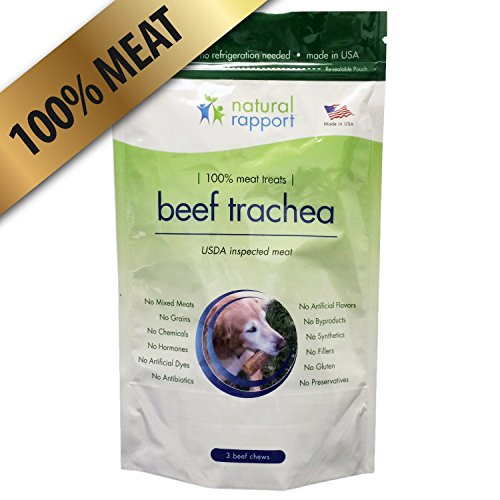 "Beef Trachea Dog Treats - 100% Beef - Made in USA - Longer lasting, odor-free dog chews - 3-count 6"" trachea"