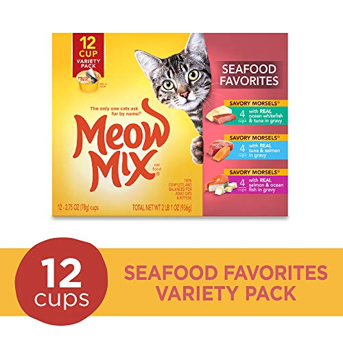 Meow Mix Seafood Favorites Variety Pack Wet Cat Food, 2.75-Ounce (Pack Of 12)