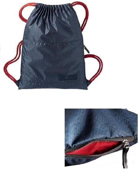 Delux Ajustable Drawstring Backpack Sack bag Black//Blue
