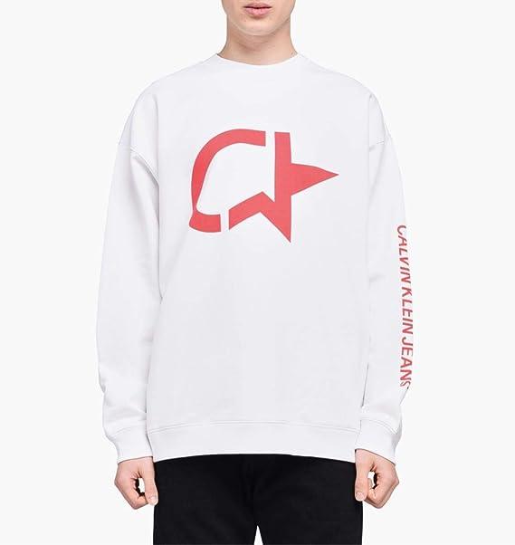 Calvin Klein Sudadera Oversize J30J309531 Blanca con impresión roja Bianco M: Amazon.es: Ropa y accesorios