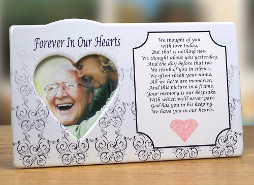 I Thought of You with Love Today Ceramic Memorial Picture Frame - Beautiful Tribute to the Loss of a Loved One - Traditional Design Goes with Any Decor - Great (Ceramic Photo Plaque)