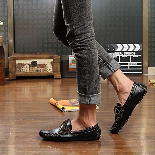 Genuino Amarillo de Mocasín con 24 Gommino Penny de Cuero de de Barco Mocasín Negro tamaño conducción los 0cm Hcwtx Zapatos Hombres Blanco Cordones Negro 0cm Zapatos Mocasín 27 de cómodo wnOZFq88x