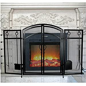 3 Panel Wrought Iron Fireplace Screen with Tools Outdoor Metal Decorative Mesh Cover Solid Baby Safe Proof Fire Place Fence Leaf Design Steel Spark Guard for Fireplace Panels Accessories